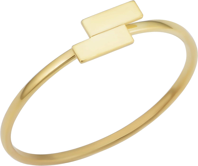 KoolJewelry 14k Yellow Gold Double Bar Minimalist Ring