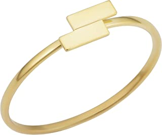 KoolJewelry 14k Yellow Gold Double Bar Minimalist Ring