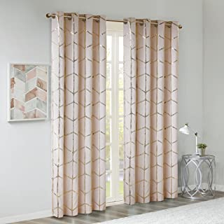 Madison Park Raina Total Blackout Metallic Print Grommet Top Window Curtain Panel Thermal Insulated Light Blocking Drape for Bedroom Living Room and Dorm, 50x84, Blush/Gold