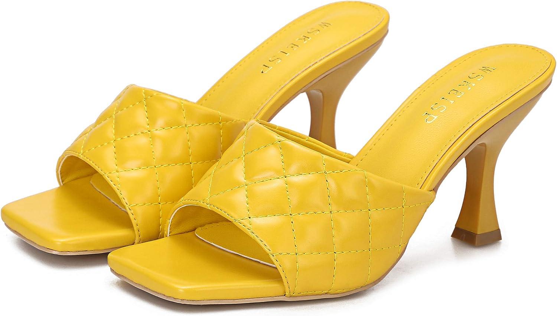 WSKEISP Womens Heels Mules Slip On Square Open Toe Sandals Dress Backless Stiletto High Heel Slippers Slides