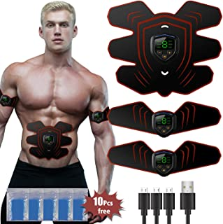 zociko ABS Stimulator Muscle Toner, Abdominal Toning Belt Muscle Smart EMS Body Trainer, USB Rechargeable LCD Display 6 Modes & 9 Levels