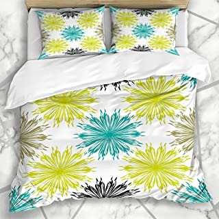 Ahawoso Duvet Cover Sets Queen/Full 90x90 Ornament Floral Sunflower Pattern Beautiful Teal Design Brown in Green Black Paper Textures Flower Soft Microfiber Decorative Bedroom with 2 Pillow Shams