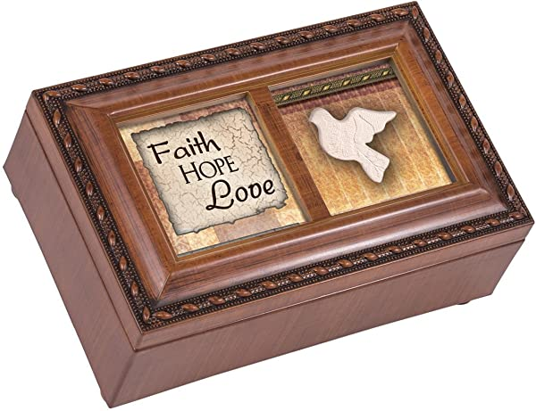 Cottage Garden Faith Hope Love Woodgrain Rope Trim Jewelry Music Box Plays Amazing Grace