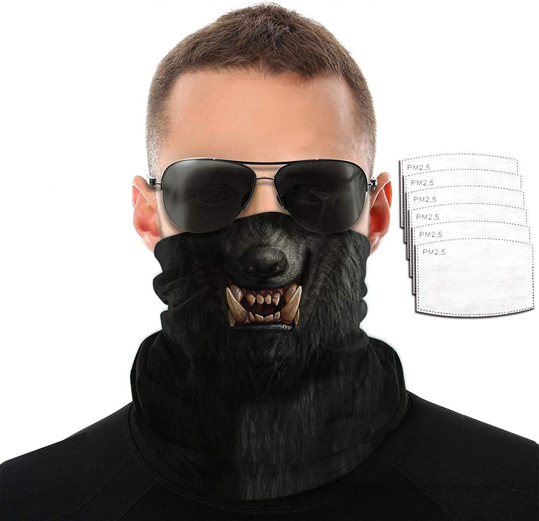 Werewolf Wolf Animal Scary Halloween Headband Bandana Scarf Reusable Dust Filter Face Mask Balaclava Mouth Pm2.5