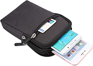 DFV mobile - Belt Multi-functional Vertical Stripes Pouch Bag Case Zipper Closing Carabiner for HTC Desire 19s (2019) - Bl...