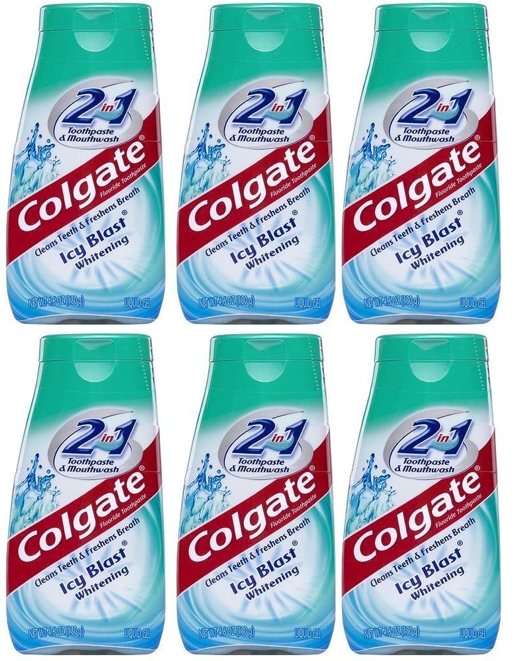 薬を飲むコイルフレームワークColgate 2-IN-1歯磨き粉およびマウスウォッシュ、美白アイシーブラスト、4.6オンスチューブ(6パック) 6パック