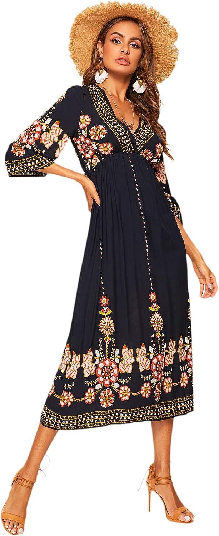 Romwe Women's Floral Print Deep V Neck 3/4 Sleeve A-Line Bohemian Tribal Boho Midi Dress