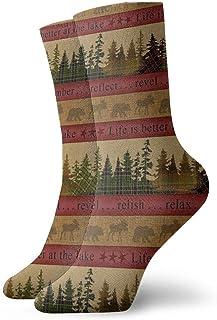 tyui7, Tree Stripes - Calcetines de compresión antideslizantes, rojos y dorados Cosy Athletic 30cm Crew Calcetines para hombres, mujeres, niños