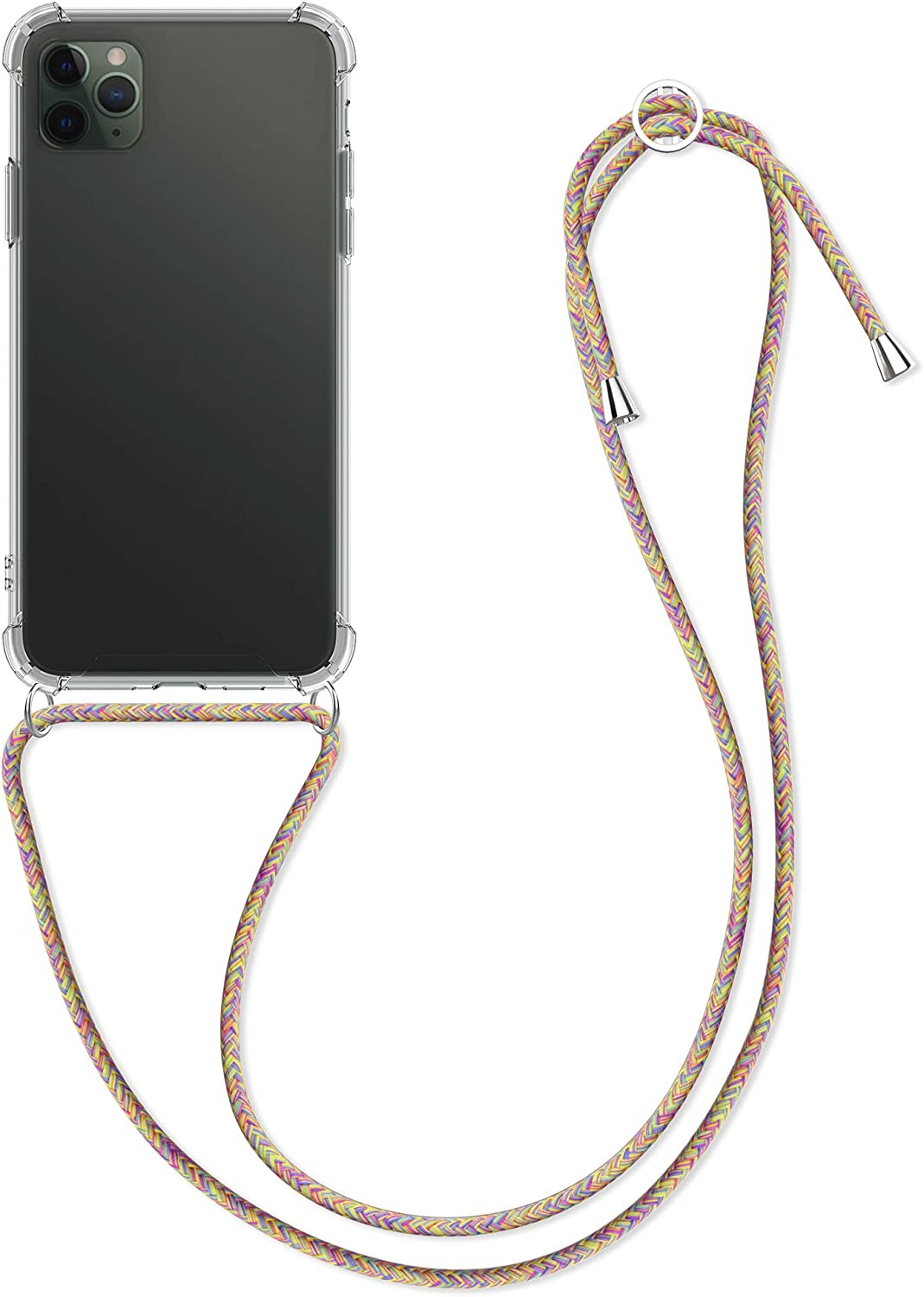 kwmobile Crossbody Case Compatible with Apple iPhone 11 Pro Max - Case Clear TPU Phone Cover w/Lanyard Cord Strap - Transparent/Dark Pink/Violet