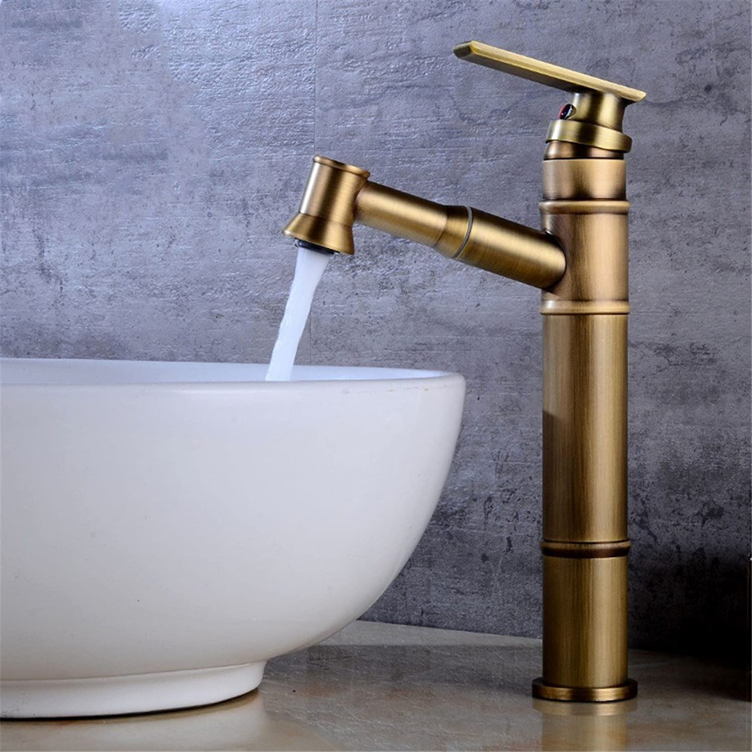 Decorry European Style Faucet Faucet Antique Copper Hot and Cold Shampoo Head Basin Wash Hand Bathroom Bathroom Cabinet with Telescopic Faucet Antique Podium