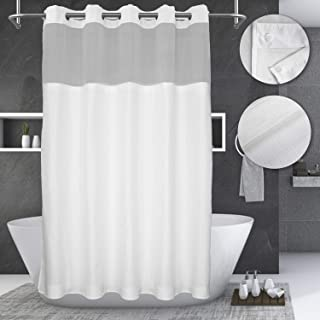 Hotel Grade No Hooks Needed Shower Curtain with Snap in Liner,with Window,Spa Like 71W x 74L