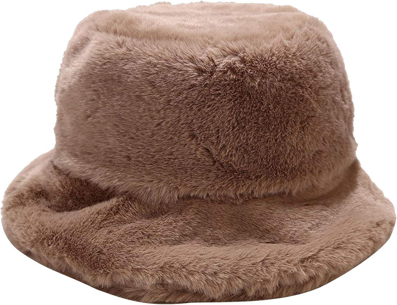 Women Girls Tie Dye Rainbow Tampa Mall Fuzzy Winte Faux Bucket High order Fur Hat Warm