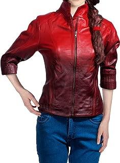 OBX Womens Two-Toned Leather Jacket for Elizabeth Olsen Scarlet Witch Fans