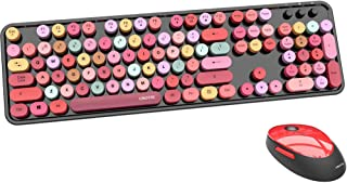 UBOTIE Colorful Computer Wireless Keyboard Mouse Combos, Typewriter Flexible Keys Office Full-Sized Keyboard, 2.4GHz Dropo...