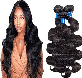 INNATE COLLECTION CHARIS Brazilian Hair Extensions 3 Bundles 100% Unprocessed Virgin Body Wave Human Hair Weave Nature Black Size 16