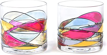 ANTONI BARCELONA Whiskey Bourbon Glass 12Oz SET 2 Sagrada Red Line Hand Painted Mouth Blown Unique gifts & presents dad birthday spiritual moments stunning and gorgeous colorful old fashioned on Rocks