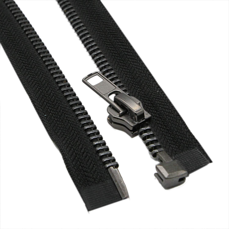MebuZip #8 16 Inch Black Nickel Teeth Separating Jacket Zipper Right Handed Zipper Heavy Duty Metal Zippers for Mens Jackets Coats Sewing 16 RH