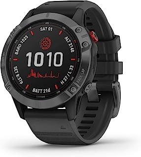 Garmin fēnix 6 Pro Solar, Solar-powered Multisport GPS Watch, Advanced Training Features and Data, Slate Gray with Black Band