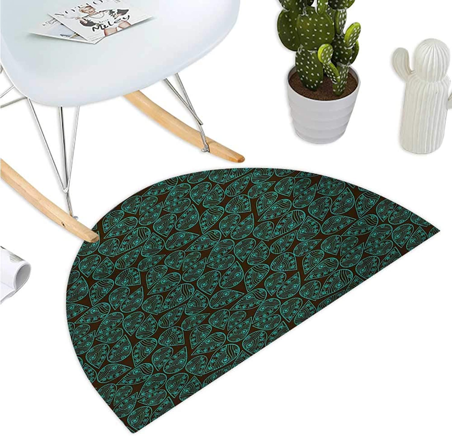 Ethnic Half Round Door mats Eastern Asian Style Leaf Pattern with Traditional Folk Feng Shui Concept Bathroom Mat H 39.3  xD 59  Seal Brown Turquoise