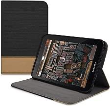 kwmobile Funda compatible con Samsung Galaxy Tab 2 7.0 P3110 / P3100 -Carcasa de tela para tablet con soporte en negro / marrón