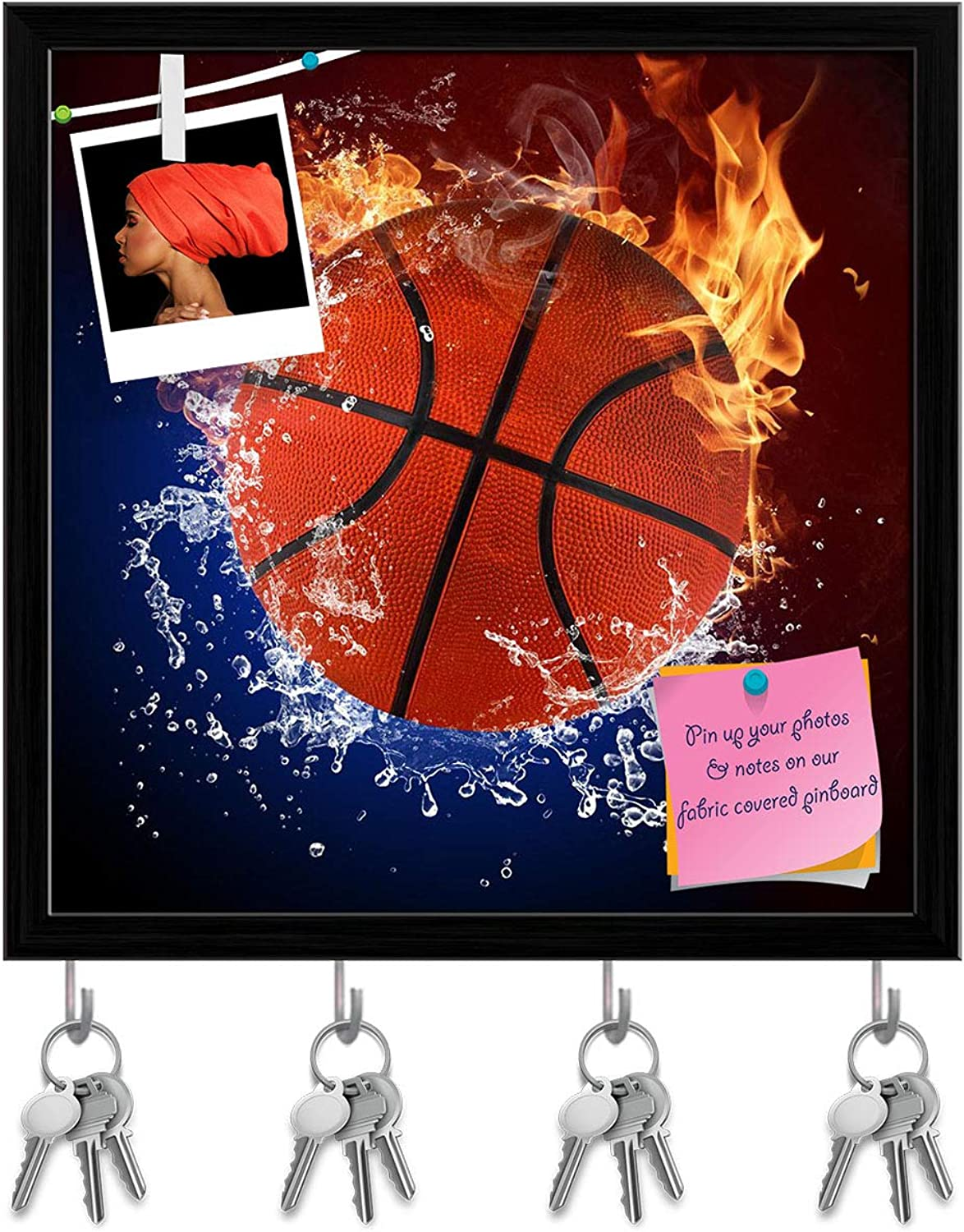 Artzfolio Basketball Ball in Fire Flames & Splashing Water Key Holder Hooks   Notice Pin Board   Black Frame 20 X 20Inch