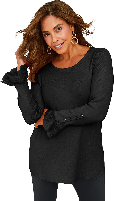 Jessica London Women's Plus Size Lace Cuff Sweater