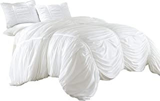Chezmoi Collection Cassandra 3 Piece Chic Ruched Duvet Cover Set (King, White)