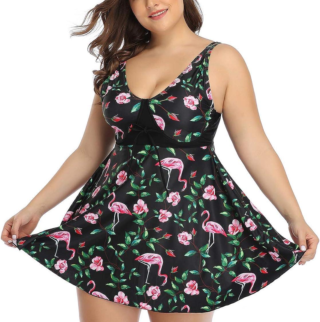 Lovacely Women Plus Size Two Piece Floral Swimwear Tankini Bathing Suit Flowy Skirted Swimsuits