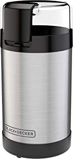 BLACK+DECKER CBG110S Coffee Grinder, One Touch Push-Button Control, Stainless Steel, 2/3 Cup Coffee Bean Capacity