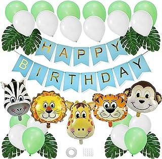 زينة لحفلات اعياد الميلاد بنمط ادغال السفاري للاطفال والفتيان، تتضمن بالونات بنمط حيوانات الغابة من بايو (أخضر)