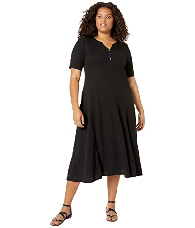 LAUREN Ralph Lauren Plus Size Waffle Knit Fit-and-Flare Dress (Polo Black) Women