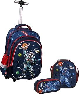 Wenlia Rolling Rugzak, Potlood Case Lunch Bag 3 in 1 Student Boekentas, Astronaut Trolley tas Dinosaurus School Tas voor J...