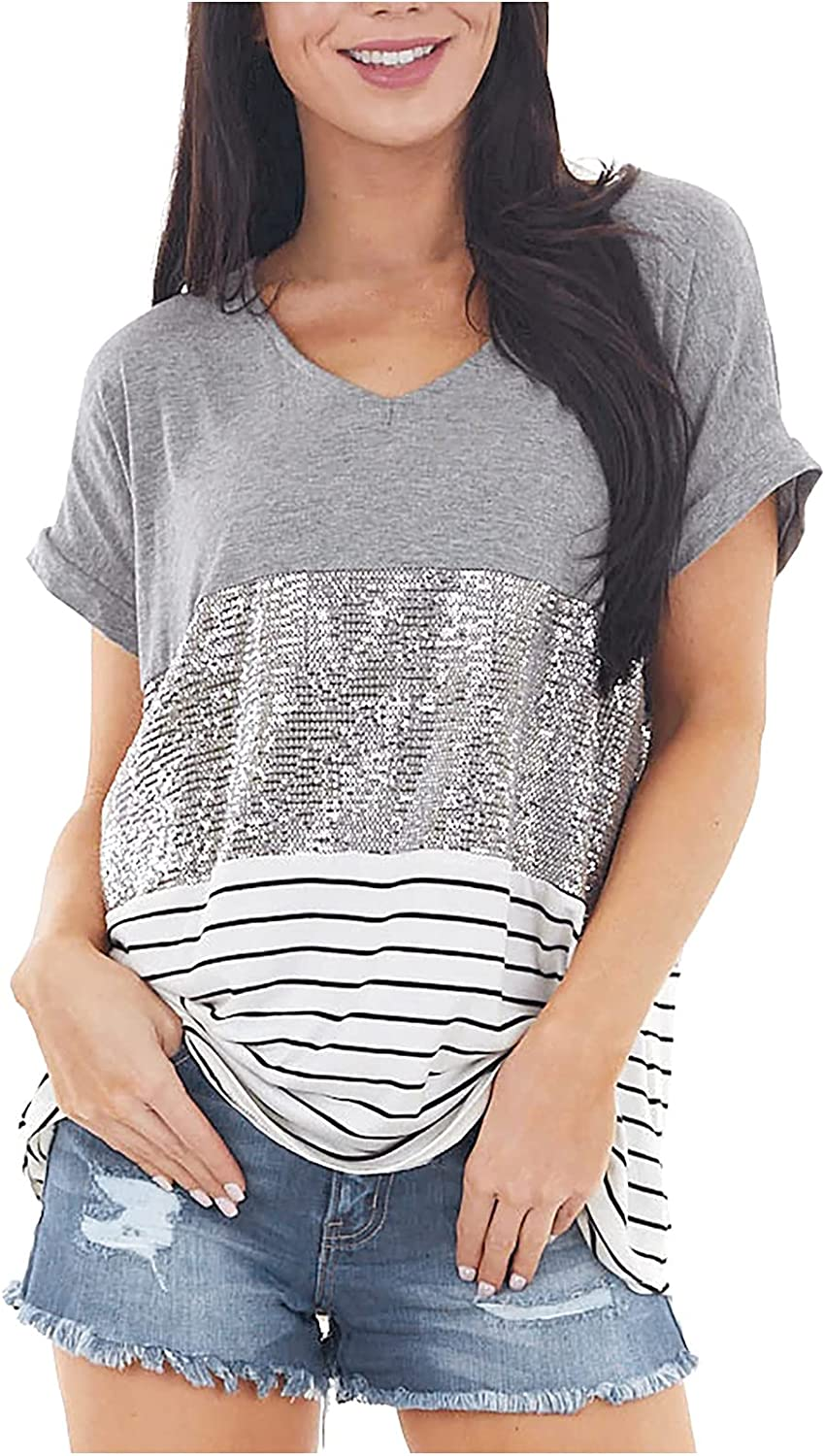 Womens Summer Tops Women's Tops Sequins Stitching Contrast Color Round Neck Short Sleeves Tops Loose Fit Crewneck Tees