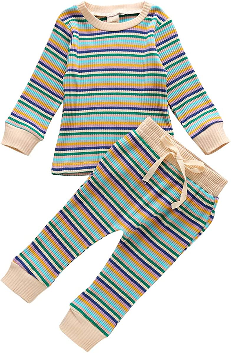 Complete Free Shipping New arrival Kids Baby Boys Girls Knit Pajama Set 2pcs Clothes Sleeve Long Ch