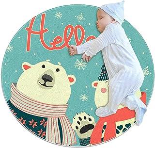 Soft Round Area Rug 100x100cm/39.4x39.4IN Anti-Slip Floor Circle Mats Absorbent Memory Sponge Standing Mat,Hello Bear