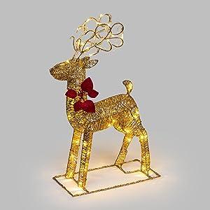 Reno dorado con purpurina, 70 cm, 48 LED luz cálida, adornos navideños, figura de Navidad