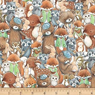 Timeless Treasures Camp Cricket Packed Forest Friends Fabric, Multicolor, Fabric By The Yard