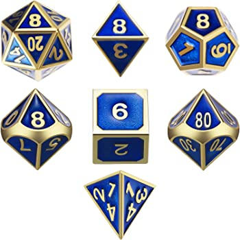 TecUnite 7 Die Metal Polyhedral Dice Set DND Role Playing Game Dice Set with Storage Bag for RPG Dungeons and Dragons D&D Math Teaching (Shiny Gold and Blue A)