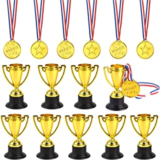FEPITO 30 Pcs Trophies Medals Set 10Pcs Gold Plastic Trophy Cup and 20Pcs Winner Medals for Kid Party Sports Awards