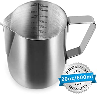 Milk Frothing Pitcher Cappuccino Pitcher Pouring Jug Espresso Cup with Measurement Inside 20 Ounce (600 ML) Stainless Steel Creamer Cup for Latte Art