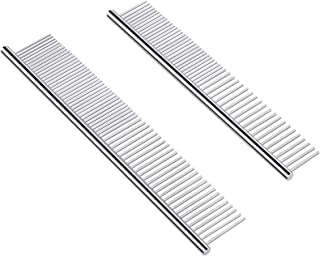 PetQoo Dog Cat Grooming Comb, 2 Pack Stainless Steel Dog Combs with Rounded Ends Teeth for Removing Tangles, Mats, Loose H...
