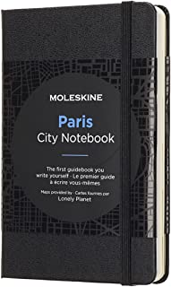 Moleskine 9 x 14 cm City Notebooks Paris with Plain and Ruled Pages, Hard Cover, Elastic Closure and City Maps - Black