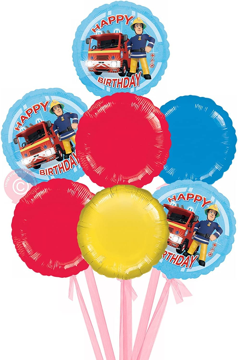 Fireman Sam Happy Birthday  Inflated Birthday Helium Balloon Delivered in a Box  Bigger Bouquet  7 Balloons  Bloonaway