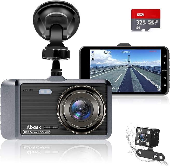 Cámara de Coche Abask Dash CAM 4 Visión Nocturna Full HD 1080P 170° Gran Ángulo Cámara de Delantero y Trasero con Sensor G WDR grabación de Bucle Monitor de Aparcamiento Sensor Movimiento