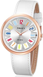 Quartz Watches for Men and Women,Fashionable Slim Analog Display Wrist Watch with Classic Leather Band