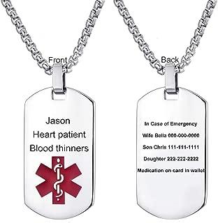 medical alert necklace free engraving