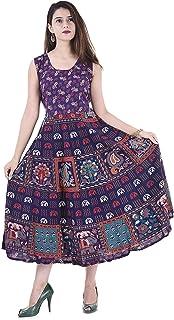 Jaipuri Creation Women's Jaipuri Printed Dress Cotton Long Maxi Dress for Women Blue
