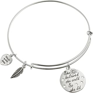 Sterling Silver She Believed She Could So She Did Heart Feather Faith Courage Dangle Charm Adjustable Wire Bangle Bracelet