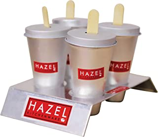HAZEL Aluminium Kulfi Mould Indian Ice Cream Maker Set of 4 with Stand and 12 Ice Cream Sticks for Home Party Supplies