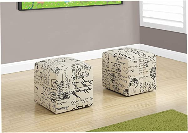 Wood Style 2 Piece French Script Print Ottoman Off White Black Comfy Living Home D Cor Furniture Heavy Duty
